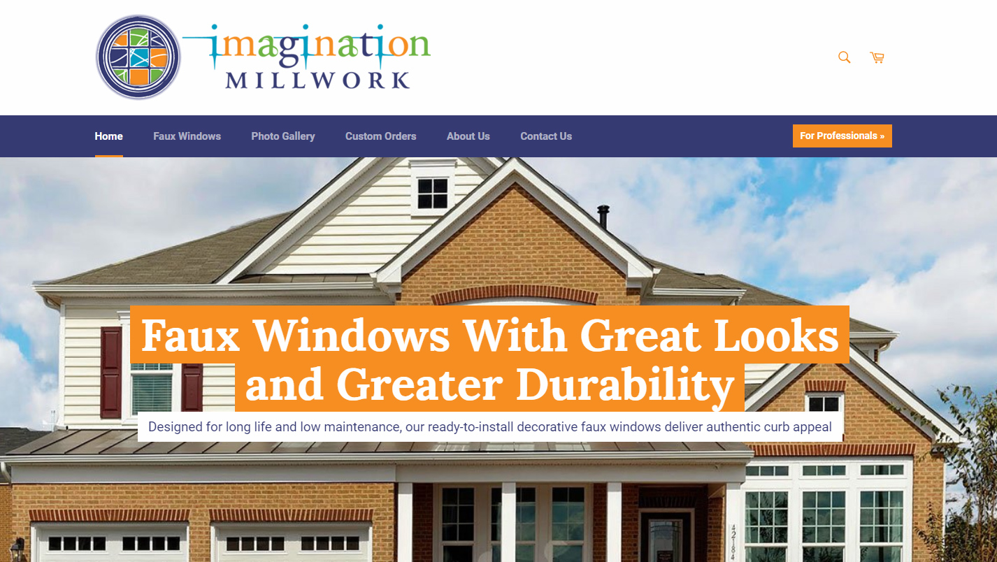 Ecommerce site for faux window manufacturer